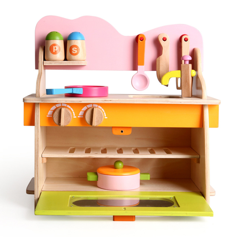 Wooden Kitchen Toys Set Children Pretend Play Kitchen Toys