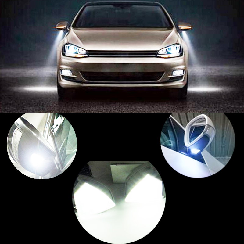 2x Free error 18 SMD LED super bright Car side mirror under light For Golf 5 Golf Plus Golf Variant 5 6 Jetta Passat EOS abs mirror cover chrome matt painted cap side mirror housings for volkswagen jetta golf 5 passat b6 ct