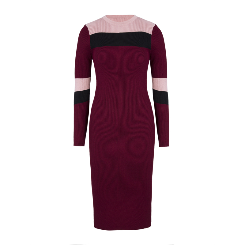 Young17 Autumn Dress Women Date Red Green Stripe Color Block Fashion Tight Sheath Knitted Sexy Fall Dress Bodycon Dress