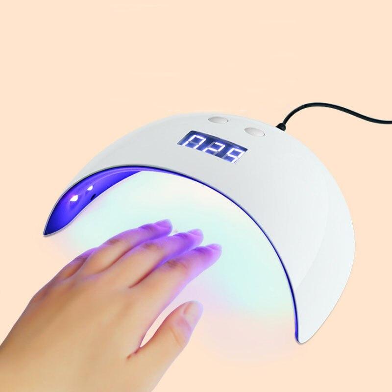 Сушилка для ногтей 24 Вт УФ светодиодный лампы для ногтей Smart Сенсор 60/90/120 s установка времени машины леча uv гель разъем USB Перезаряжаемые 12 Св... ...