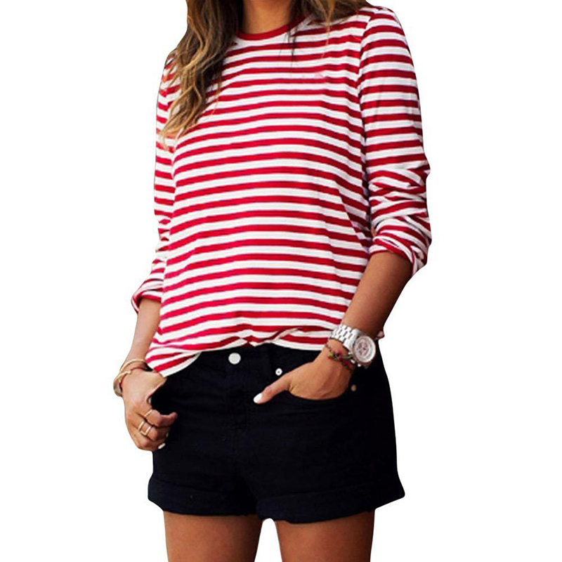 Women Crew Neck White & Red Striped T-Shirts Long Sleeve Tee Tops