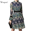 TANGNEST Women Dress for Spring 2017 New European Casual Lace Printed Contrast Color A-Line Female Dresses With Sashes WQL5192