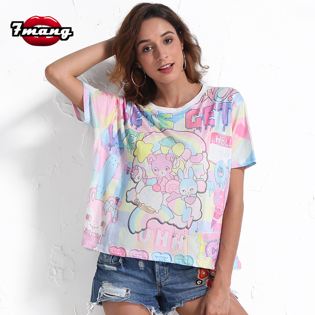 67a86e3bef 7mang 2018 summer women cute cartoon printing t shirt lady street harajuku  loose short sleeve comfortable short party tees-in T-Shirts from Women's ...