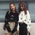 2017 Flower Embroidery Sweater Retro Women O neck Long Lantern Sleeve Knitwear Jumper Pullover kleding jerseis