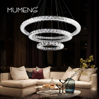 mumeng LED Crystal Chandelier Modern Luxury Ring Hanging Kitchen Lamp 3/2/1 Circle Dining Room Living Room Decor Light Fixture
