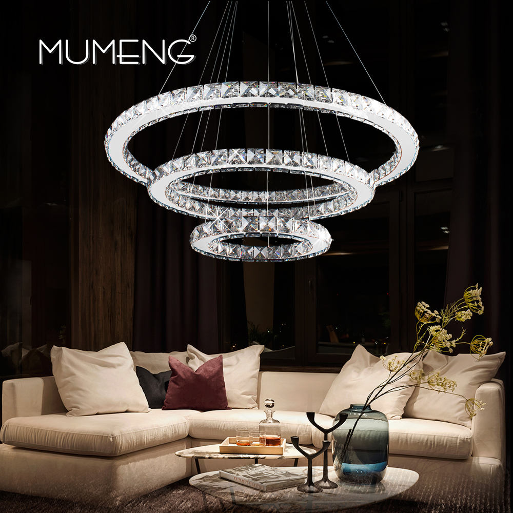 LED Crystal Pandant Light Modern Ring Ceiling Lamp Fixture 1 2 3 Circle Chandelier Lighting Dining