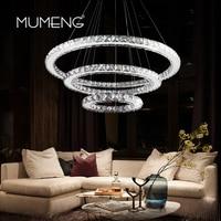 LED Crystal Pandant Light Modern Ring Ceiling Lamp Fixture 1 2 3 Circle Chandelier Lighting Dining