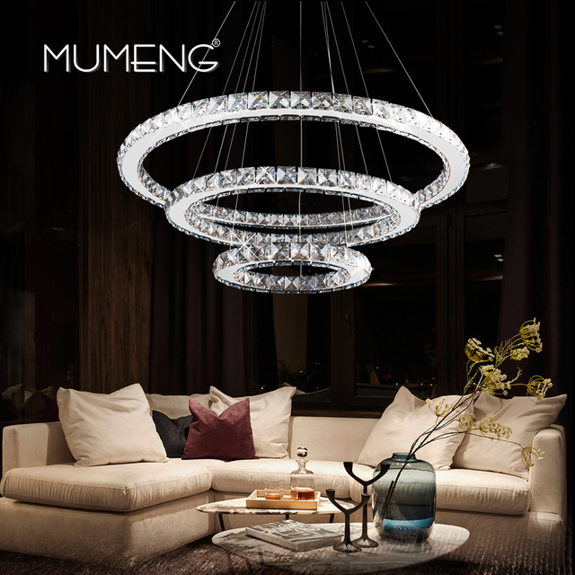 Mumeng LED Crystal Chandelier Modern Ring Hanging Kitchen Lamp 3/2/1 Circle  Dining