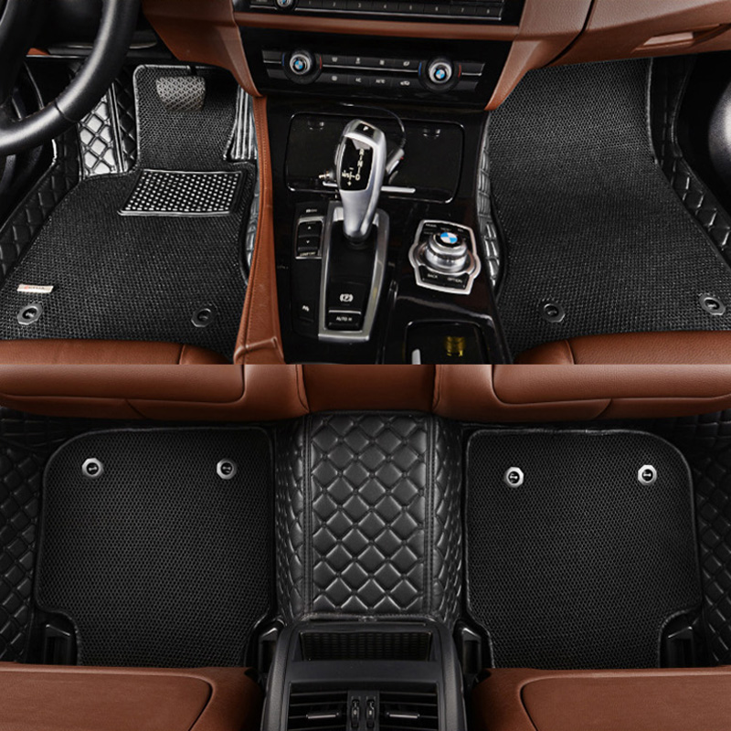 3D Honeycomb floor carpet for Audi A1 A3 A4 A6 A7 A8 Q3 Q5 SQ5 Q7 TT TTS R8 RS5 RS6 RS7 Two layers of car floor mats