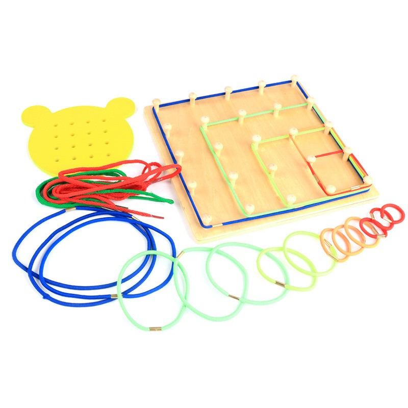 Nouveauté Montessori jouets en bois vent la corde sur les ongles en bois Math jouet éducatif bois ongles conseil ours conseil filetage plaque - 3