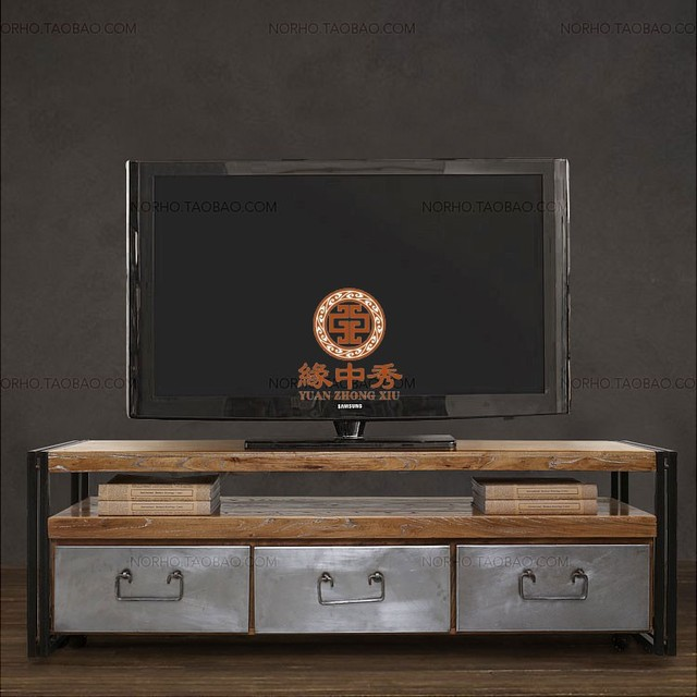 French Loft style metal frame triple butted American country wood TV ...
