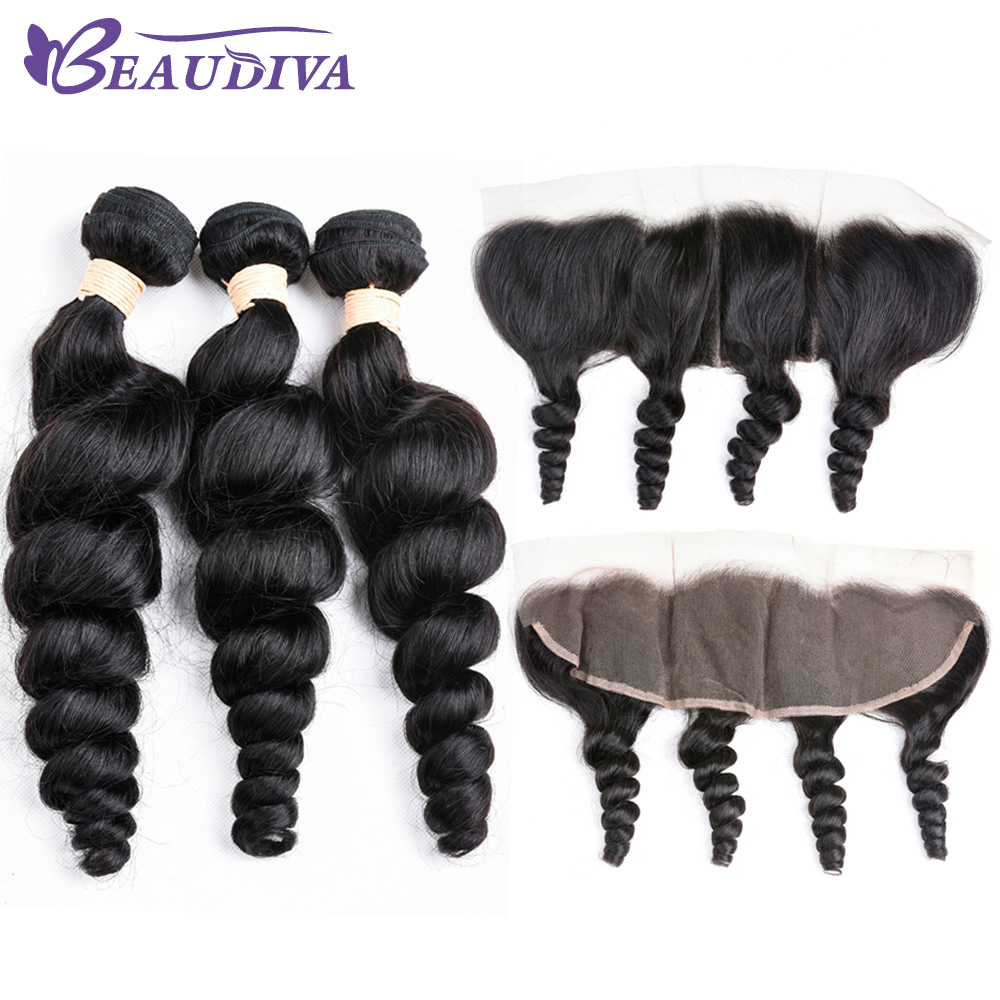 BEAUDIVA Brazilian Loose Wave 3 Bundles with Lace Frontal Free Part Human Hair Bundles Non-Remy Weave Extension Lace Frontal