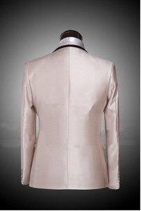 Image 2 - Najnowsza konstrukcja wykonane na zamówienie jeden przycisk notch Lapel szampana Groom smokingi Groomsmen ślub garnitury męskie dla mężczyzn (kurtka + spodnie + krawat)