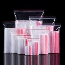 100 шт Пластиковые Ziplock Сумки Ювелирные изделия Малый мешок с застежкой упаковки пищевых продуктов молнии замок сумки ясные свежие сохраняя пылезащищенные