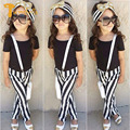TWINSBELLA Baby Girl clothing set summer girls short sleeve casual T-shirt+striped pants 2pcs kids clothes suit chldren clothing