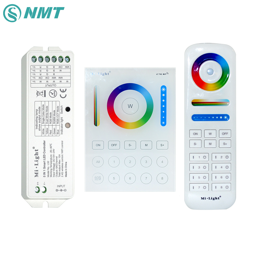 B8 Wall-mounted Touch Panel FUT089 8 Zone Remote RF Dimmer LS2 5IN1 Smart LED Controller For RGB+CCT LED Strip MiLight milight wireless ls2 5in1 smart led controller b8 wall mounted touch panel control rgb cct led strip 8 zone rf remote controller