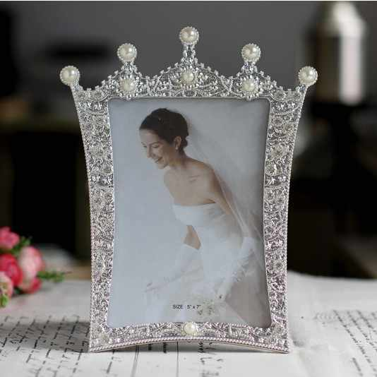 Photo Frame Cute Cupid white pearl crown rectangle Creative Home Decoration Wedding Photo frame birthday gift wholesae FG911