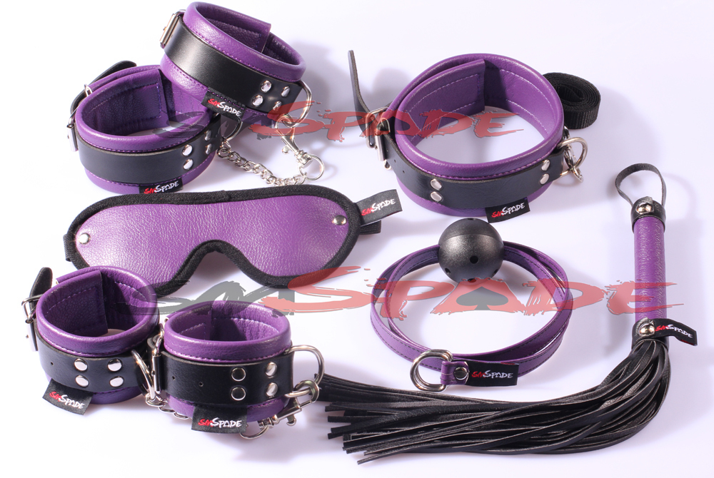 Restraint kit 6pcs/set: hand cuffs, ankle cuffs, collar, blindfold, gag, leather whip/knout, Adult toys Sex Products for couple new arrival luxury top leather ankle cuffs brown suede feet cuffs sex restraint products adult sex toys