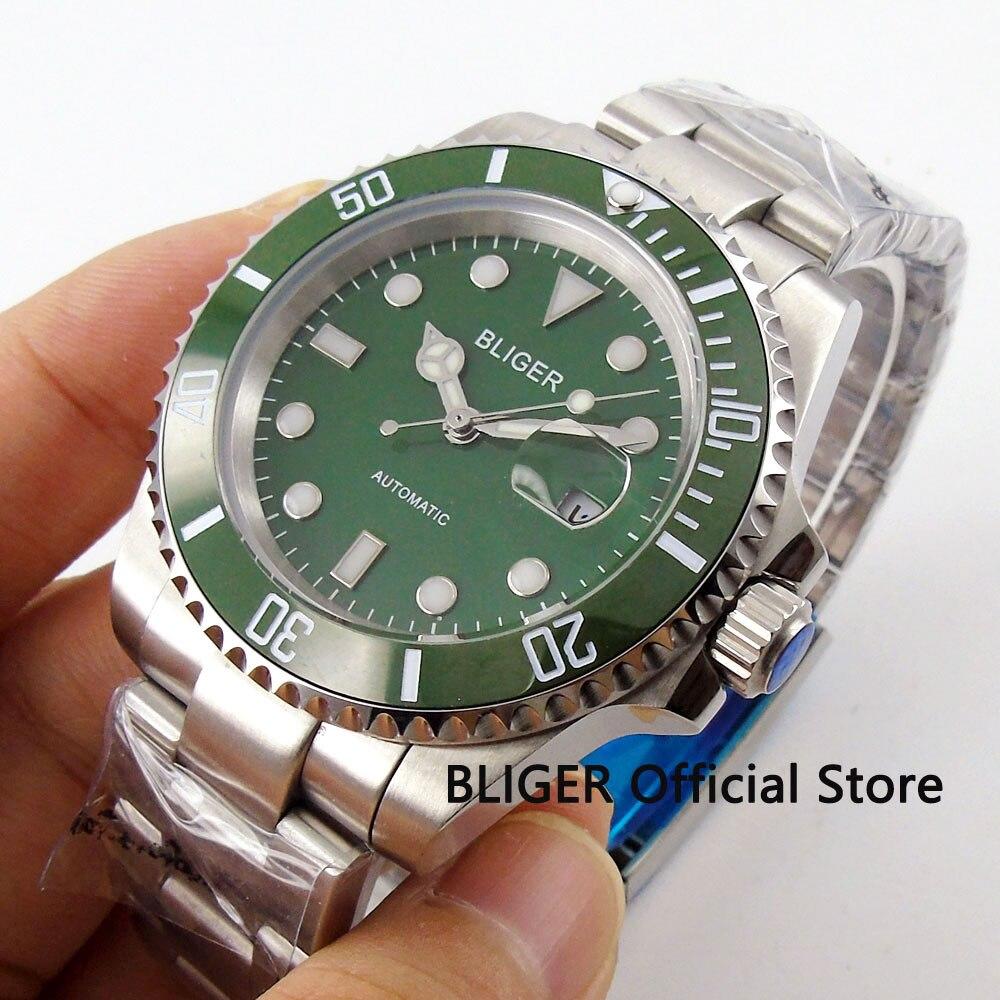 BLIGER 40 MM Groene Wijzerplaat Keramische Bezel Luminous Marks Solid Sapphire Crystal Miyota Automatische Beweging Mechanisch mannen Horloge B66-in Mechanische Horloges van Horloges op  Groep 1