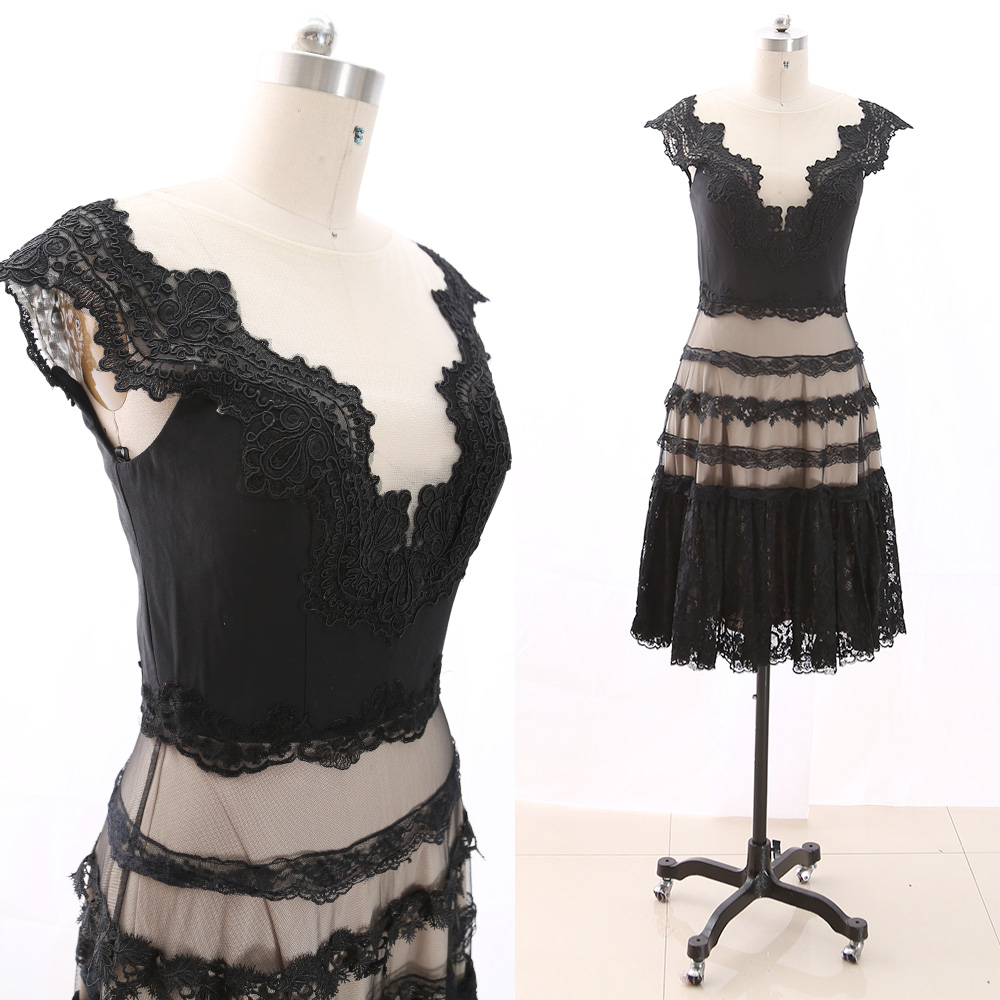 MACloth Black Short V Neck Knee-Length Midi Embroidery Tulle   Prom     Dresses     Dress   M 266321 Clearance