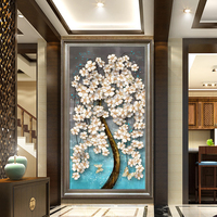 Youran New Arrival Diamond Embroidery Painting Full Drill Floral Treasure Tree Vertical Dining Room and Living Room Wall Sticker