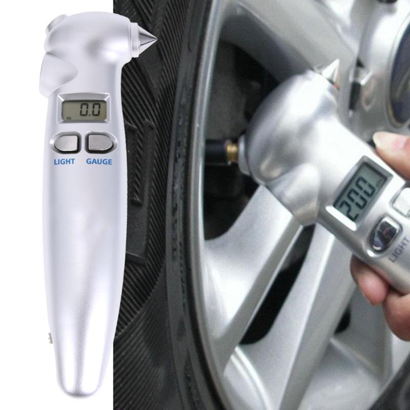 1Pcs Multi-function LCD Digital Tire Air Pressure Gauge Safety Hammer Flashlight Tyre Wheel Air Pressure Gauge Tester Procession
