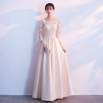 Bridesmaid Wedding Dress Elegant Lady Champagne Lace Flower Slim Gowns Classic Full Length Cheongsam Qipao Evening Dressing Gown