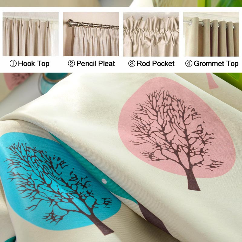 Cartoon Tree Printed Yellow/Blue Blackout Curtains for Bedroom ...