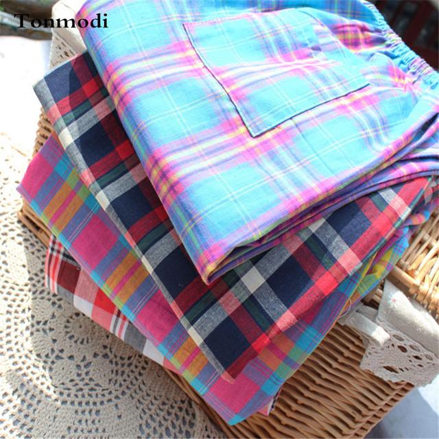 Pantalones de pijamas de Las Mujeres de Primavera Y Otoño de la Mujer 100% Algodón Pantalones de Pijama de Salón de Las Mujeres de Tela Escocesa Delgada> Sleep Bottoms