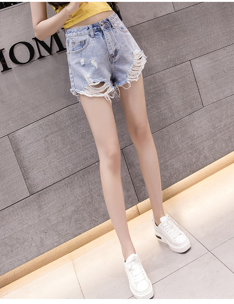 2019 Summer Korean Version High Waist New Irregular Hole Loose Edge Fashion Fashion Casual Denim Shorts Woman