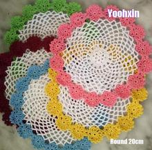 Modern round cotton placemat cup coaster mug kitchen Christmas table place mat cloth lace Crochet tea coffee pan doily dish pad