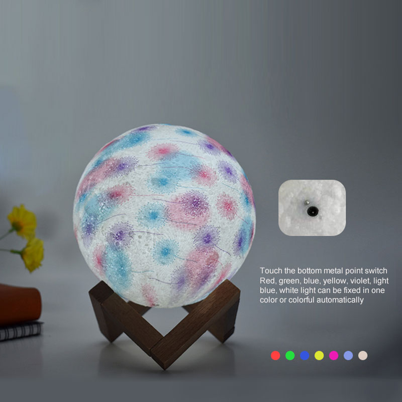 Injection molding Moon Night Light Dandelion Design USB Rechargeable 8CM 15CM Led Remote Bedroom Decor Moon Lamp fixture