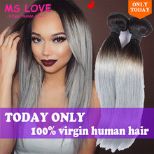 NEW!!Grey Hair Weave Ombre Gary Brazilian Hair Straight Gary Hair Extensions Gray /Green Ombre Virgin Hair 7a Mink Brazilian