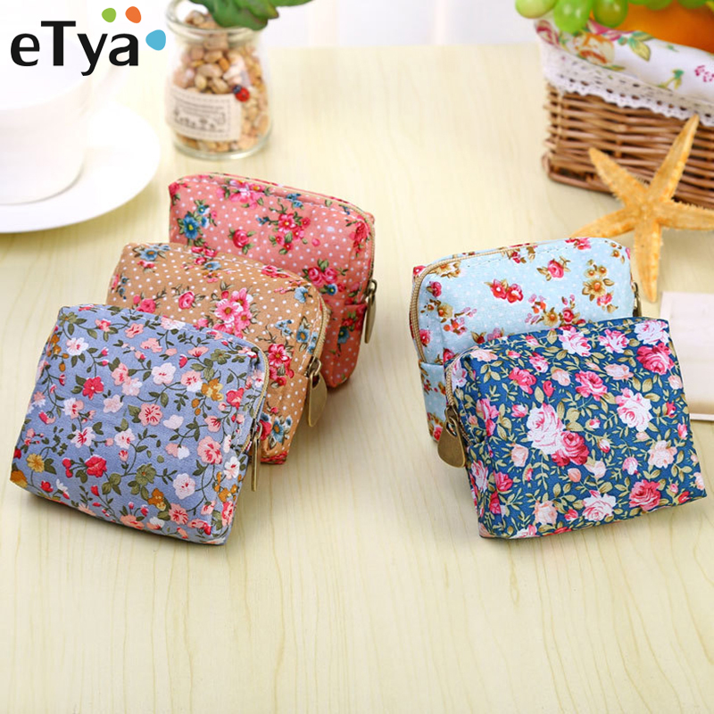 Small Wallet Pouch Lipstick-Bag Pocket Headset-Line Credit-Card-Holder Flower-Printing