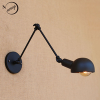 Nordic Loft Schwarz Vintage Einstellbar Langen Arm Wandleuchte Wandleuchte Led Leuchte Für Badezimmer Bar E27 Leuchten Hause Beleuchtung