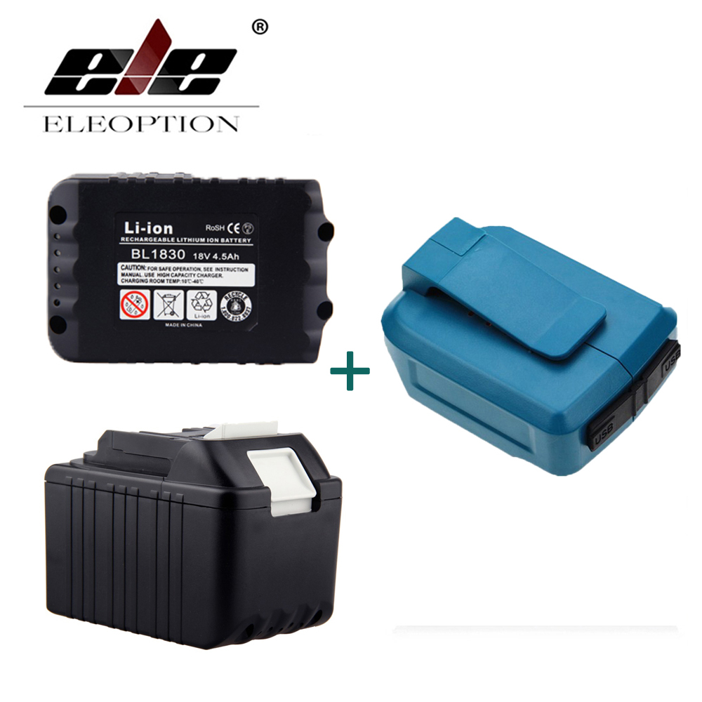 ELEOPTION 2PCS 18V 4500mAh Li-Ion Rechargeable Power Tools Battery For Makita BL1830 BL1815 194204 5 + Dual USB Charger Adapter eleoption 2pcs 18v 3000mah li ion power tools battery for hitachi drill bcl1815 bcl1830 ebm1830 327730