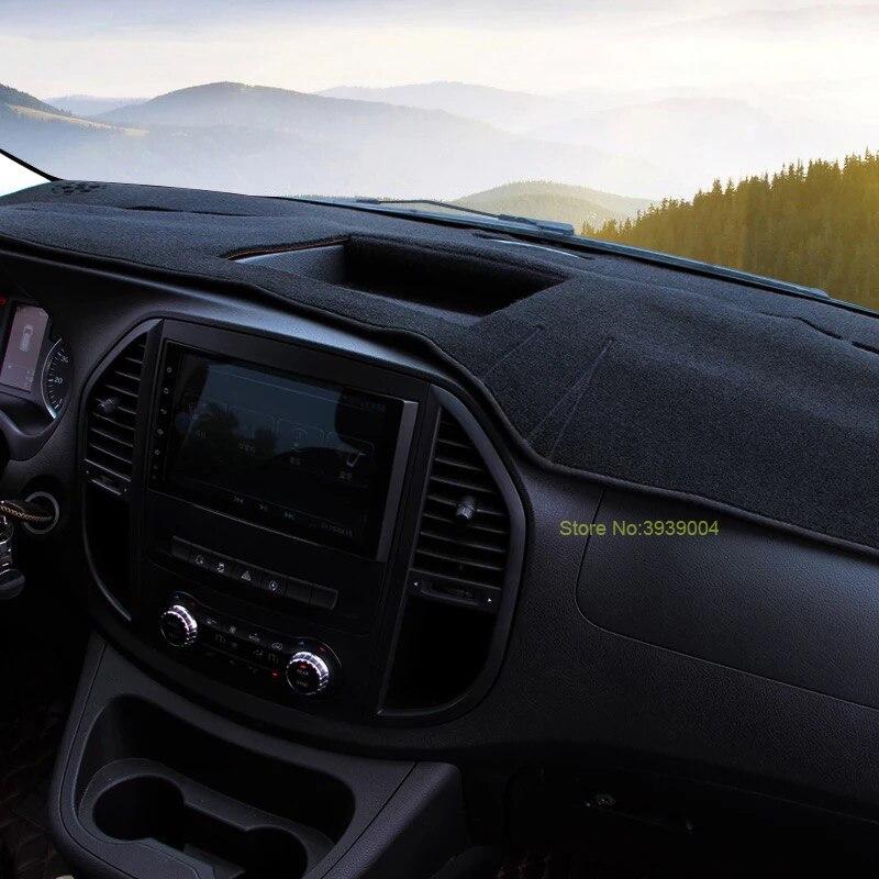 Noir Tapis De Planche De Bord Couverture Dashmat Tableau de Bord Tapis De Soleil Couverture De Voiture Intérieur Dash Couverture Pour Mercedes Benz Vito 2016-2017 - 2