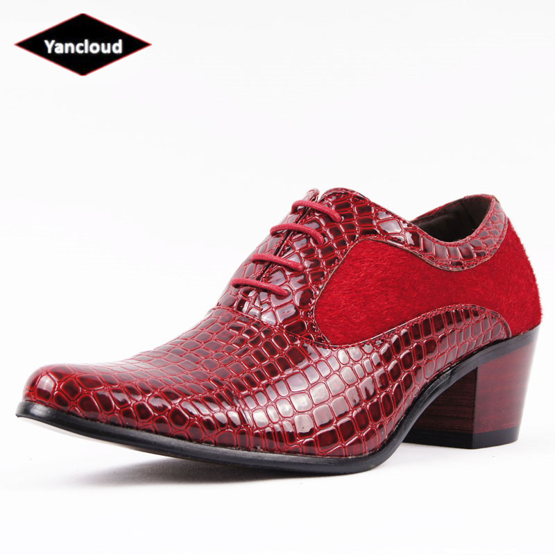 de392ccd7004 Mens Crocodile Patent Leather Pointed Toe Dress Shoes 2018 Platform Oxford  Shoes for Men Height Increase Red Wedding Shoes-in Formal Shoes from Shoes  on ...