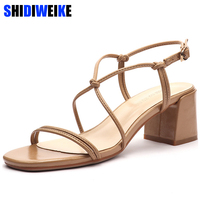 Cross tied soulier femme Strappy sandals shoes woman Buckle heels Square heel Casual High Buckle Solid all match Narrow Band