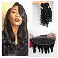13X4 ear to ear brazilian lace frontal closure with bundles human hair loose funmi wave virgin hair tangle free no shedding