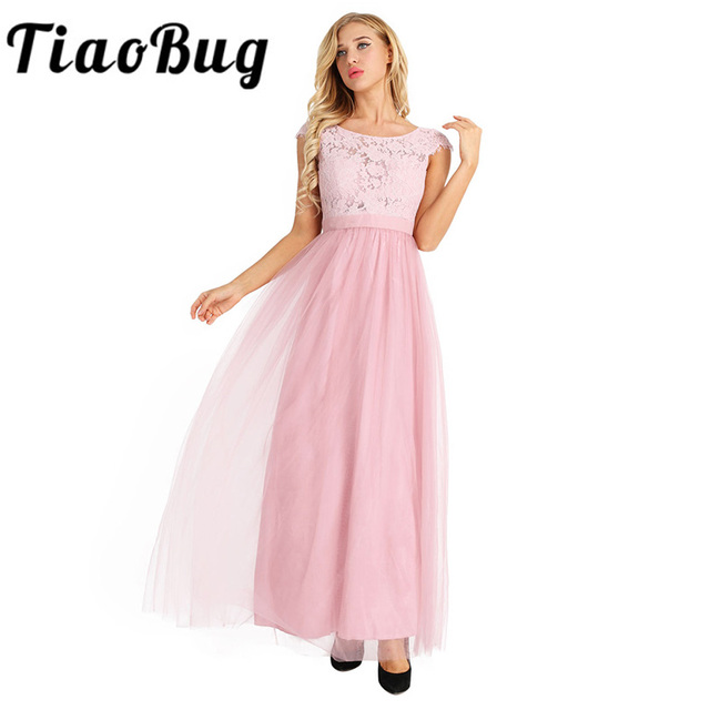 7f2db368565 TiaoBug Black Gray Wine Red Pearl Pink Bridesmaid Dresses 2017 Elegant  Women Ladies Wedding Party Tulle Chiffon Lace Bow Dress