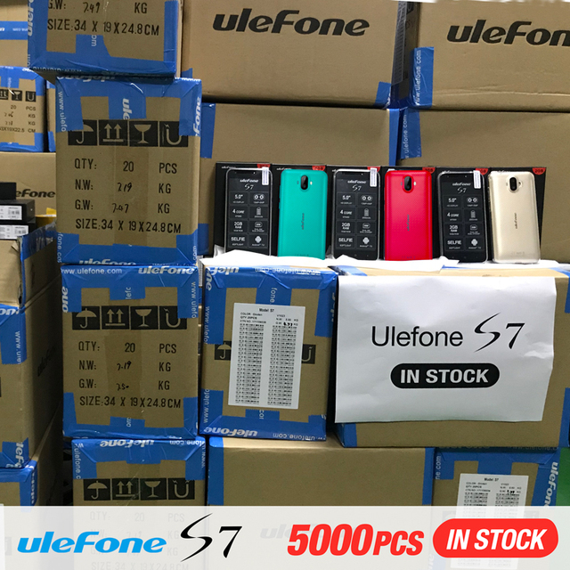 Original Ulefone S7 Pro 2GB RAM 16GB ROM 3G WCDMA MTK6580 Quad Core 5.0″ HD 13MP Dual Rear Cam GPS Android 7.0 Mobile Phone