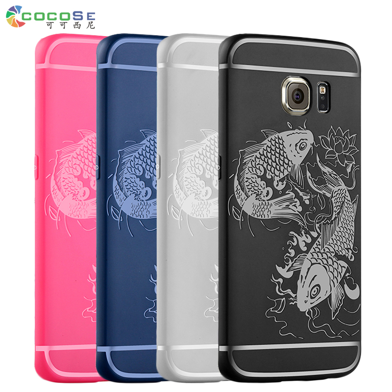COCOSE Silicon Case for Samsung Galaxy S7 S6 Edge Luxury Matte 3D Carved Soft Back Cover Anti-knock Coque For Samsung S7 Edge S6