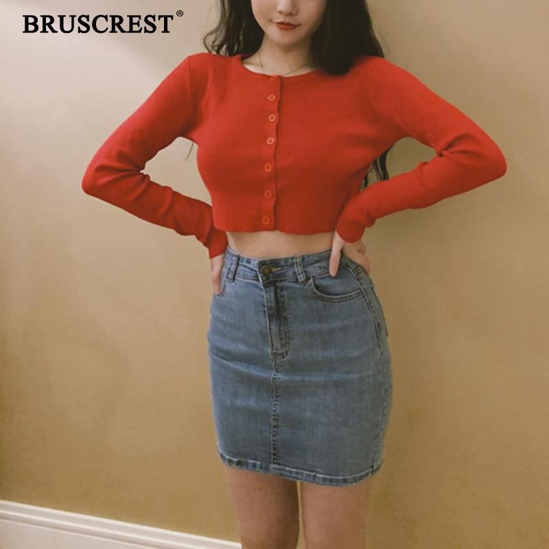 Fall 2019 Knitted Cardigan Button Up Korean Cute Sweaters Cropped Cardigan Women Kawaii Crop Sweater Knitting Top Streetwear