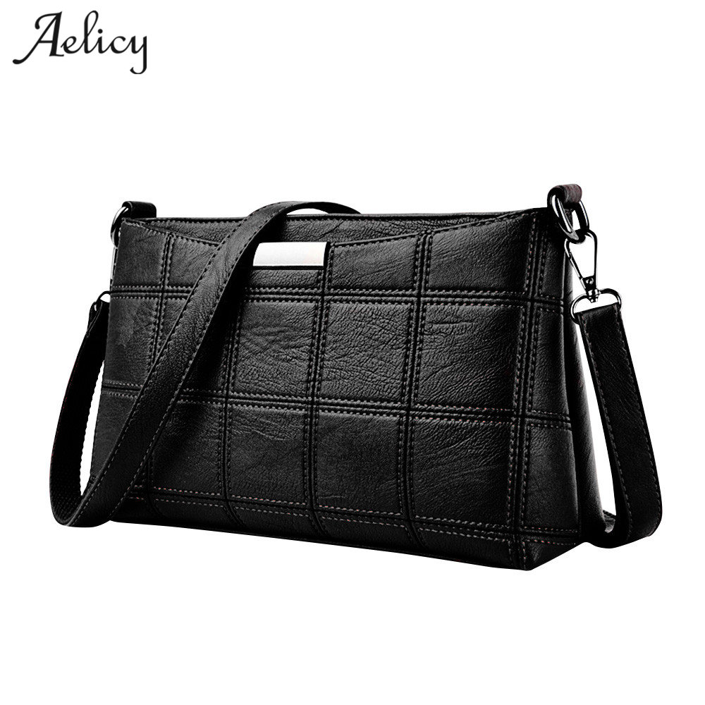 Aelicy Messenger Bag Women Handbag Cross body Leather Plaid New Fashion Woman Crossbody Bag Female PU Leather Sac a Main aelicy luxury pu leather women s fashion hairball handbag bag female leather our brand soft new arrival crossbody bags for women
