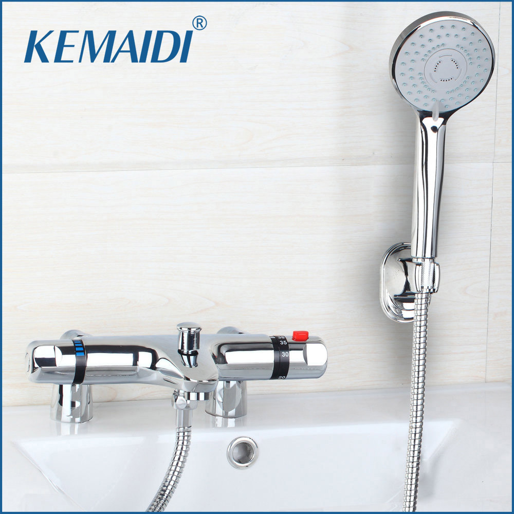 KEMAIDI NEW Brass Bathroom Thermostatic Faucets Deck Mounted Washroom Shower Valve Exposed Install Mixer Tap Thermostatic Valve wall mounted bath shower ceramic thermostatic faucets valve bathroom shower water thermostatic control valve mixer faucet tap