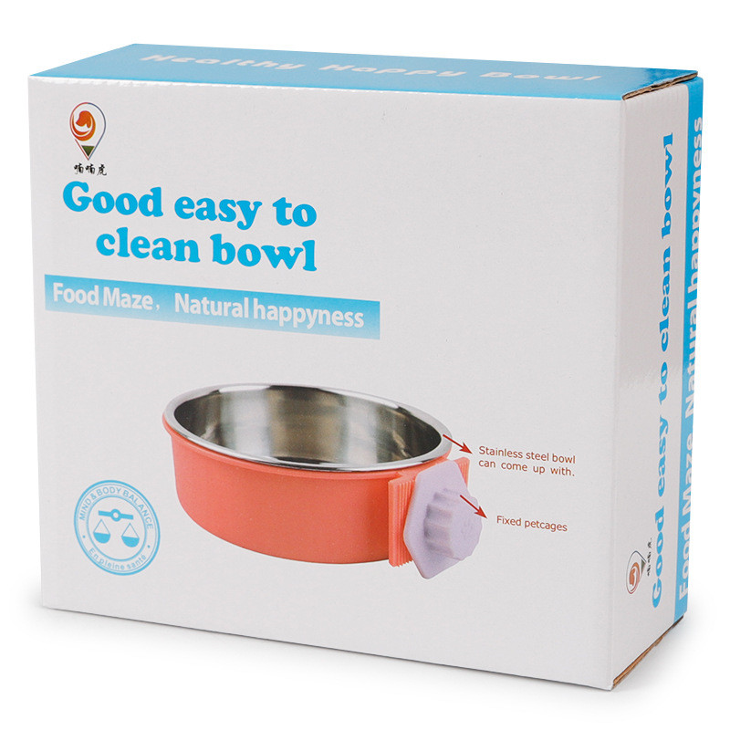 Crate Dog Bowl, Removable Stainless Steel Coop Cup Hanging Pet Cage Bowl Large Water Food Feeder for Dogs Cats Rabbits MayT3 (7)