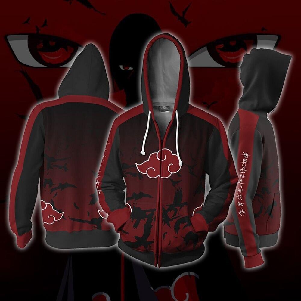 Anime Naruto Uchiha Itachi Cosplay Costumes Zipper Hoodies Sweatshirts 3D Printing Unisex Adult Clothing