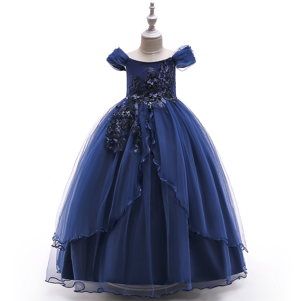 Flower Girl Princess Dress Kid Party Wedding Pageant Navy and Coral Red Champagne Childrens Holiday Beautiful Dresses for GirlsFlower Girl Princess Dress Kid Party Wedding Pageant Navy and Coral Red Champagne Childrens Holiday Beautiful Dresses for Girls