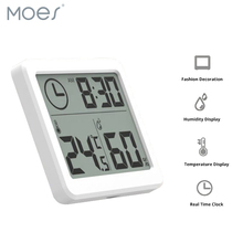 Hygrometer Automatic Electronic Temperature Humidity Monitor Clock 3.2inch Large LCD Screen Multifunction Thermometer